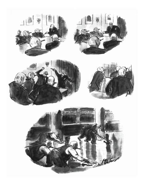 Officials Drawing - New Yorker November 6th, 1943 by Perry Barlow