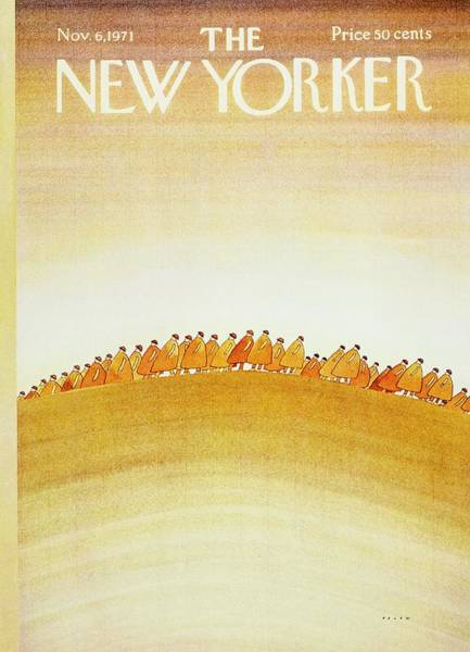 Headgear Painting - New Yorker November 6th 1971 by Jean-Michel Folon