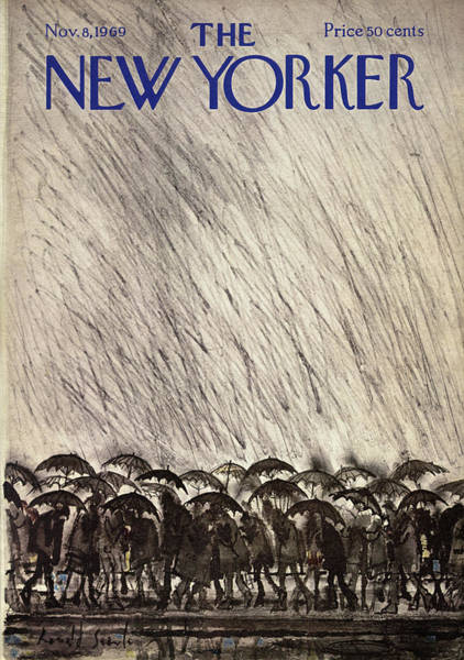 Crowd Painting - New Yorker November 8th, 1969 by Ronald Searle