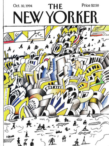Downtown Painting - New Yorker October 10th, 1994 by Saul Steinberg