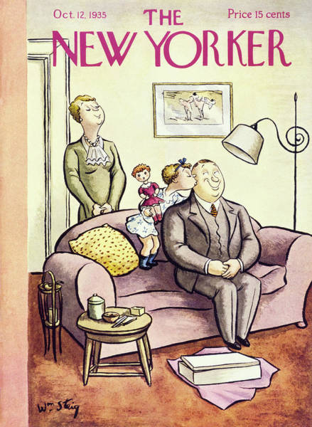 Kissing Painting - New Yorker October 12 1935 by William Steig