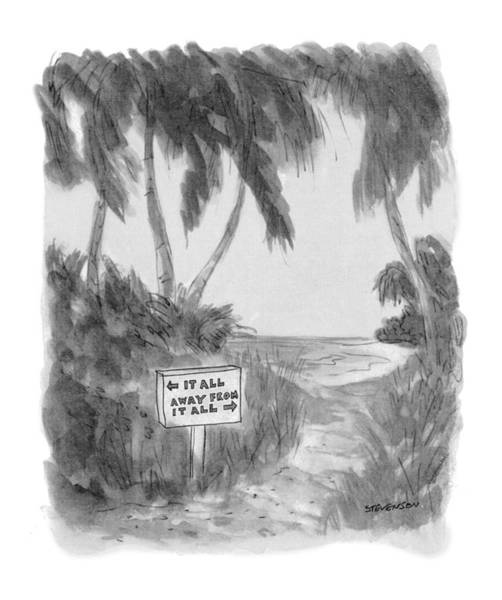 Tropical Drawing - New Yorker October 13th, 1975 by James Stevenson