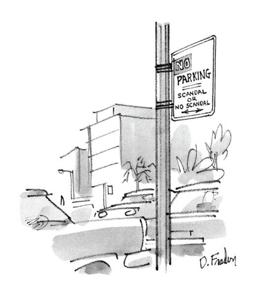 Traffic Drawing - New Yorker October 13th, 1986 by Dana Fradon
