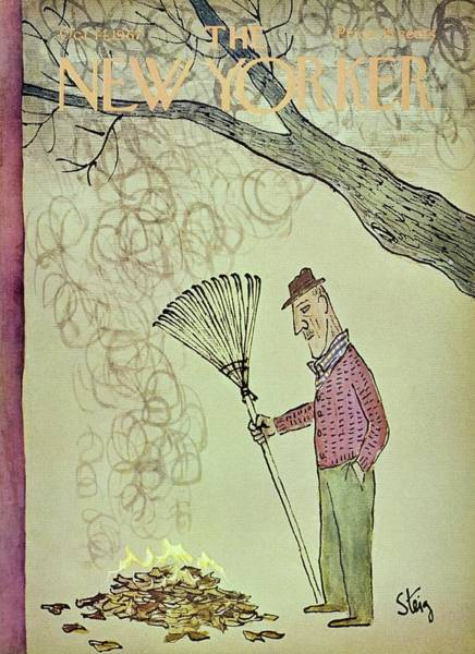 Rake Painting - New Yorker October 14th 1967 by William Steig