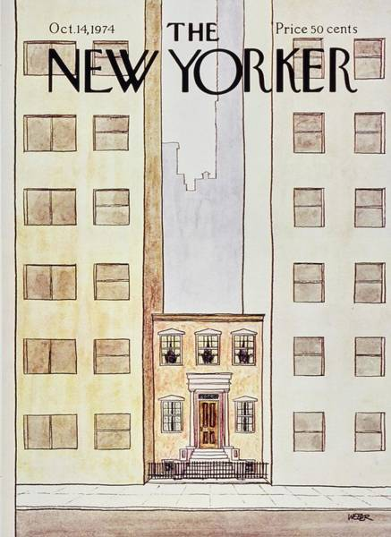 Brownstone Painting - New Yorker October 14th 1974 by Robert Weber