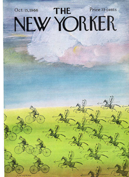 Bicycle Painting - New Yorker October 15th, 1966 by Saul Steinberg