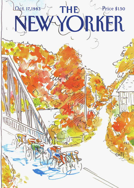 Yellow Background Painting - New Yorker October 17th, 1983 by Arthur Getz