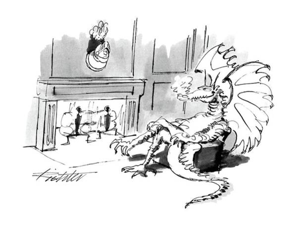 Fireplace Drawing - New Yorker October 17th, 1988 by Mischa Richter
