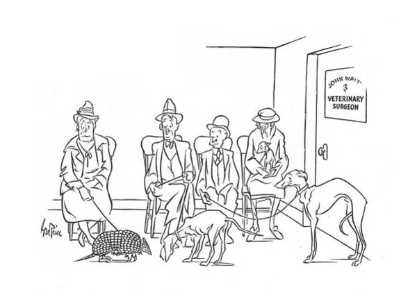 Waiting Room Drawing - New Yorker October 19th, 1940 by George Price
