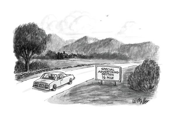 Highway Drawing - New Yorker October 20th, 1986 by Warren Miller