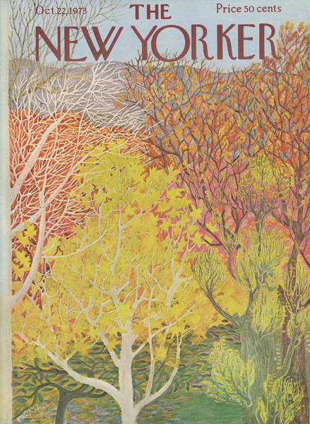 Illustration Painting - New Yorker October 22 1973 by Ilonka Karasz