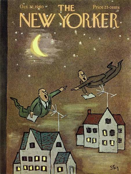 Television Painting - New Yorker October 22nd 1960 by William Steig