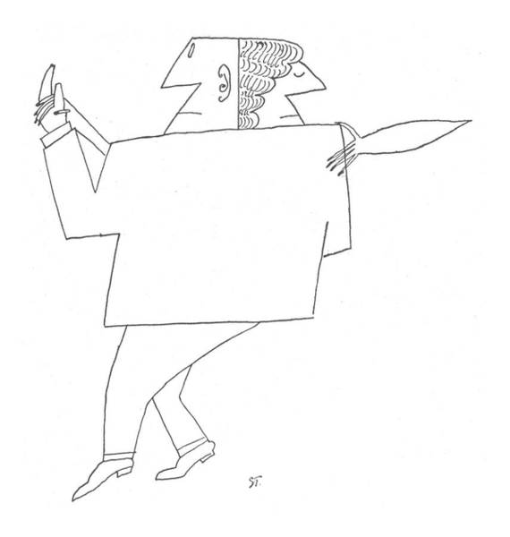 Male Figure Drawing - New Yorker October 24th, 1953 by Saul Steinberg