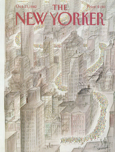 Skyline Painting - New Yorker October 25th, 1982 by Jean-Jacques Sempe