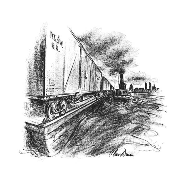 Train Track Drawing - New Yorker October 26th, 1940 by Alan Dunn