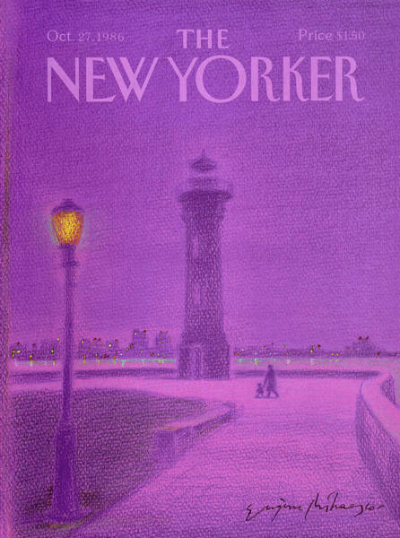 City At Night Painting - New Yorker October 27th, 1986 by Eugene Mihaesco