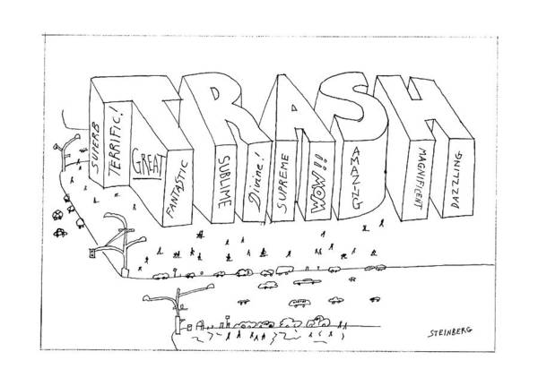 Trash Drawing - New Yorker October 27th, 1986 by Saul Steinberg