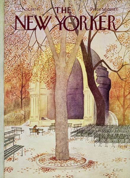 1970s Painting - New Yorker October 28th 1974 by Charles Martin