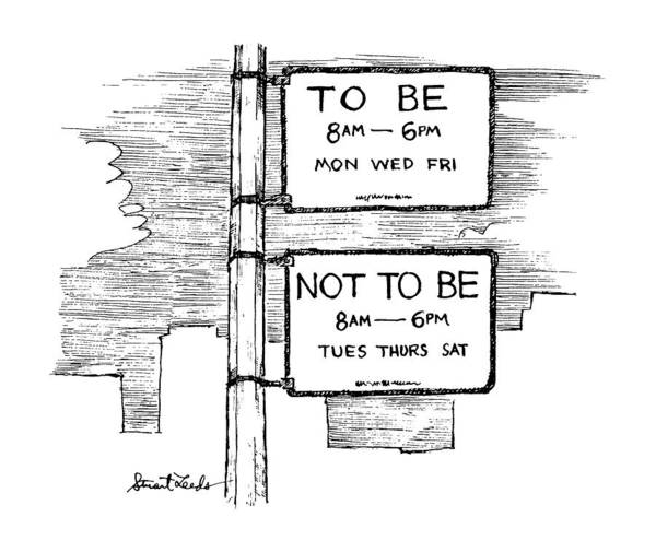 Sign Drawing - New Yorker October 28th, 1991 by Stuart Leeds