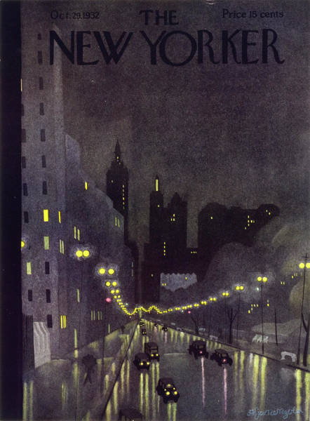 Night Painting - New Yorker October 29 1932 by Arthur K. Kronengold