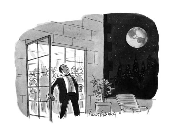 Moon Drawing - New Yorker October 29th, 1990 by Mort Gerberg