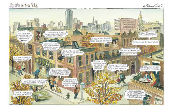 York Digital Art - New Yorker October 2nd, 2000 by Edward Sorel