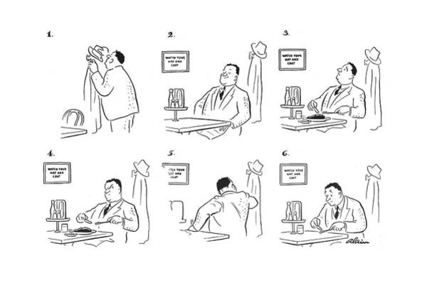 Dinner Plate Drawing - New Yorker October 30th, 1943 by  Alain