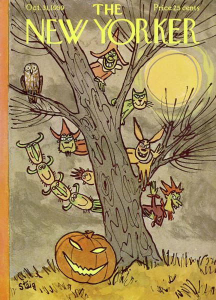 Moon Painting - New Yorker October 31st, 1959 by William Steig