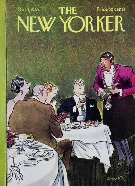 Restaurant Painting - New Yorker October 3rd 1970 by Charles D Saxon