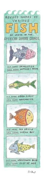 Fish Drawing - New Yorker October 4th, 1999 by Roz Chast