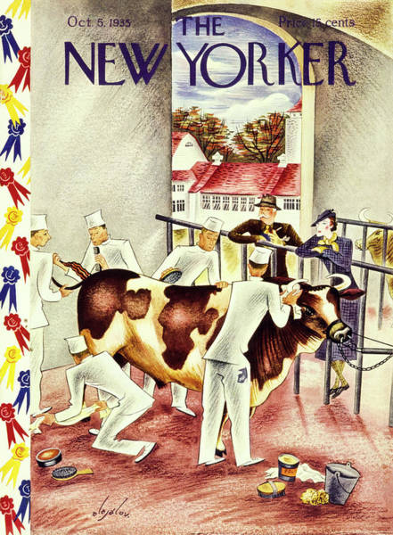 Countryside Painting - New Yorker October 5 1935 by Constantin Alajalov