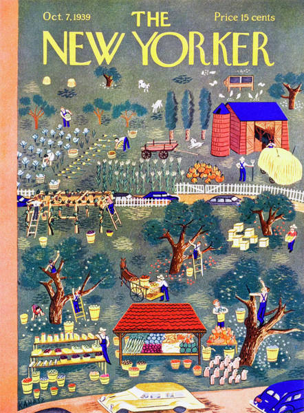 Countryside Painting - New Yorker October 7 1939 by Ilonka Karasz