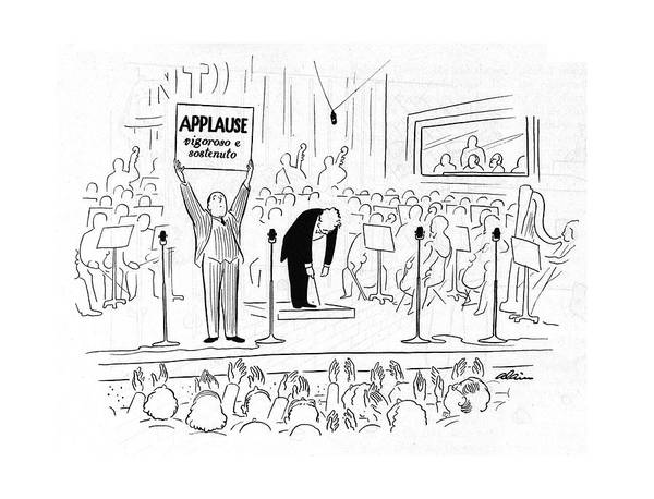 Classical Music Drawing - New Yorker October 7th, 1944 by  Alain