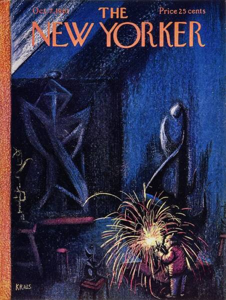 Night Painting - New Yorker October 7th 1961 by Robert Kraus