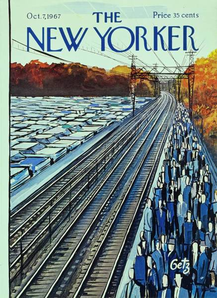 Train Track Painting - New Yorker October 7th 1967 by Arthur Getz