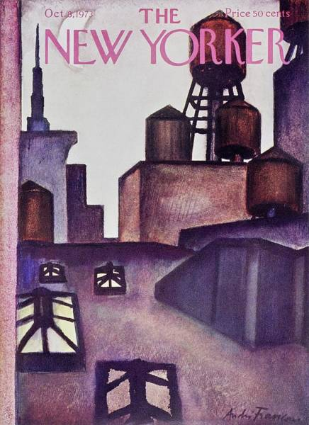 Roof Painting - New Yorker October 8th 1973 by Andre Francois