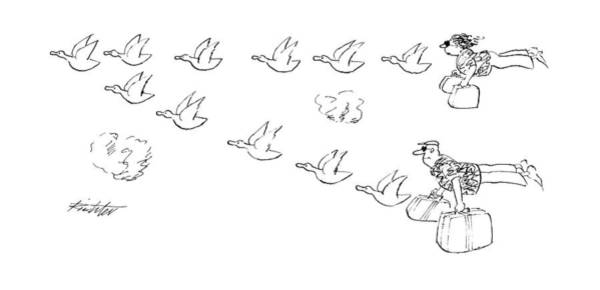 Flying Drawing - New Yorker October 8th, 1990 by Mischa Richter