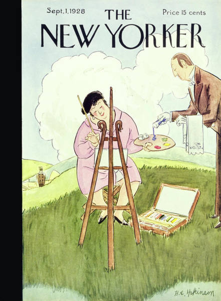 Nobody Painting - New Yorker September 1 1928 by Helene E. Hokinson