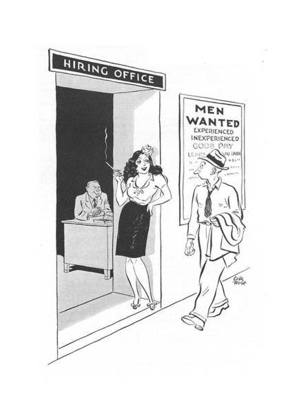 Hiring Drawing - New Yorker September 11th, 1943 by Carl Rose