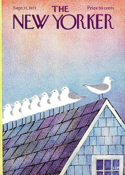 Roof Painting - New Yorker September 11th, 1971 by Charles E Martin