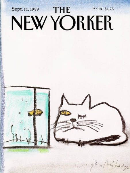 Cats Eye Painting - New Yorker September 11th, 1989 by Eugene Mihaesco