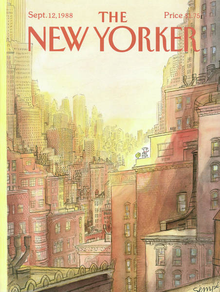 Skyline Painting - New Yorker September 12th, 1988 by Jean-Jacques Sempe