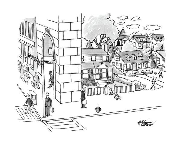 Suburb Drawing - New Yorker September 12th, 1988 by Peter Steiner
