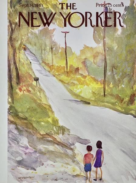Rural Scene Painting - New Yorker September 14th 1963 by James Stevenson