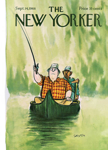 Lake Painting - New Yorker September 14th, 1968 by Charles Saxon
