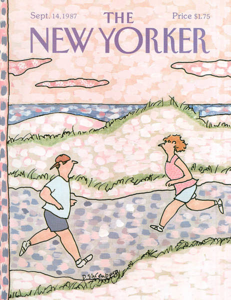 Jogging Painting - New Yorker September 14th, 1987 by Devera Ehrenberg