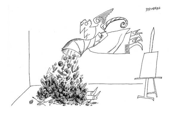 Mythology Drawing - New Yorker September 15th, 1962 by Saul Steinberg