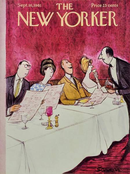 Restaurant Painting - New Yorker September 16th 1961 by Charles D. Saxon