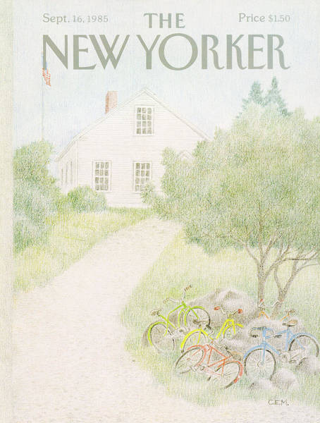 Bicycle Painting - New Yorker September 16th, 1985 by Charles E Martin