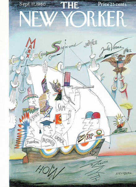 Sailing Painting - New Yorker September 17th, 1960 by Saul Steinberg